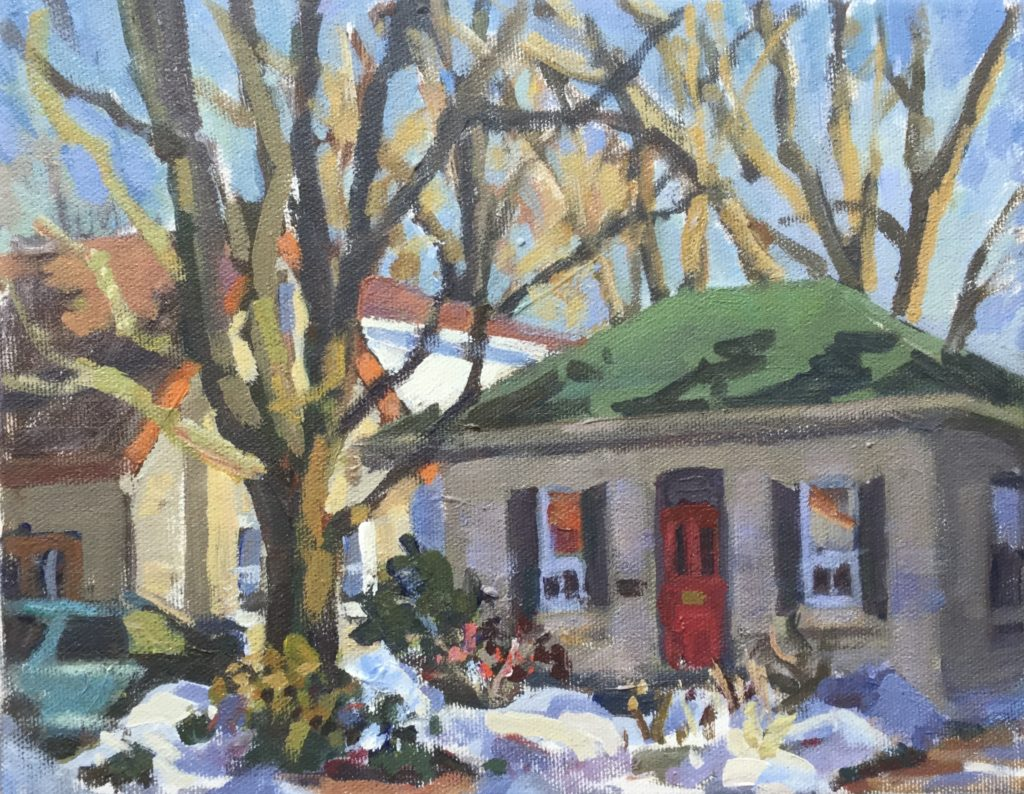 cityscape, Guelph, Plein air, tree, winter, acrylic, canvas, home, house