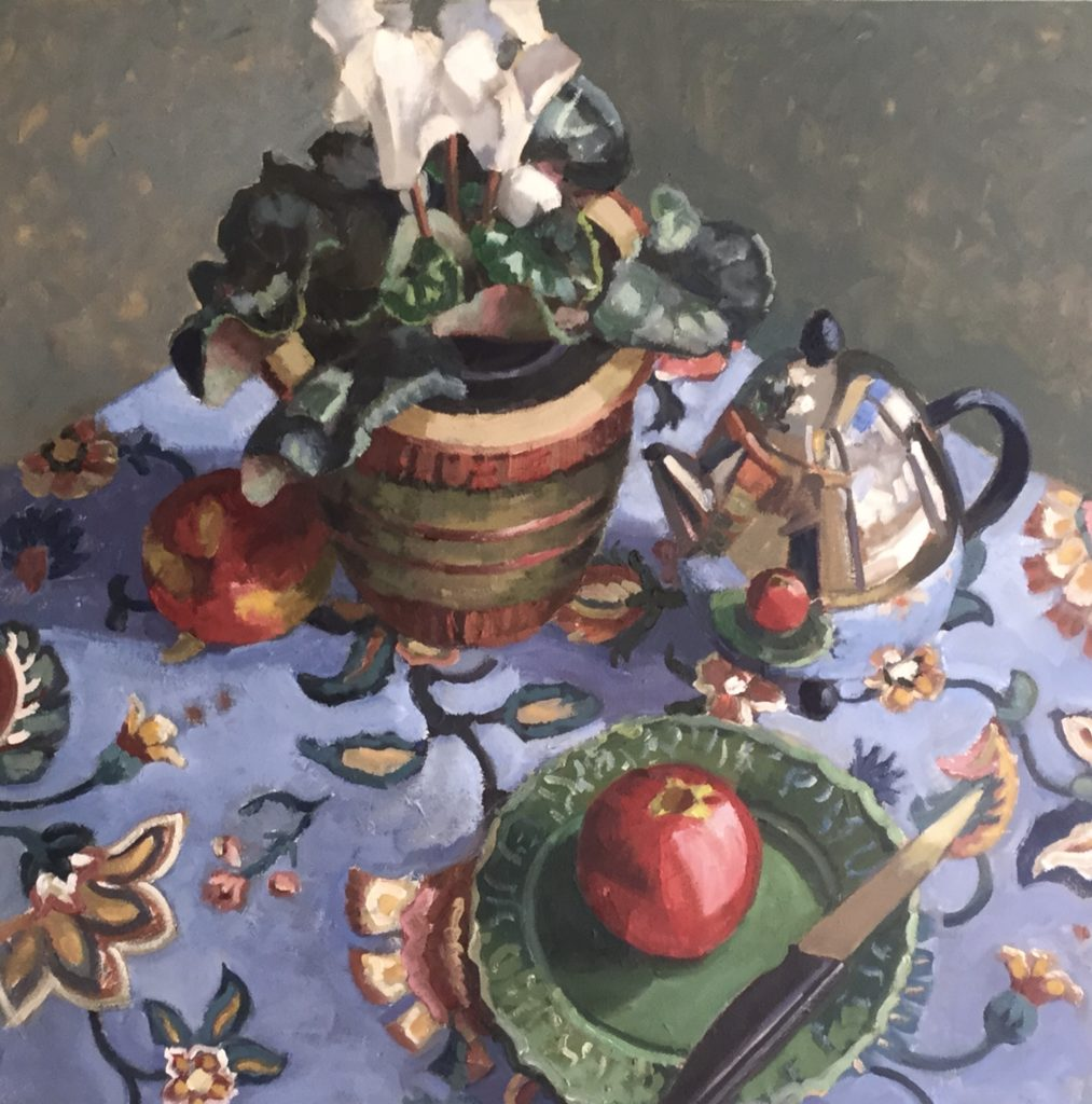 apple, still life, flowers, floral, teapot, reflection, spring,