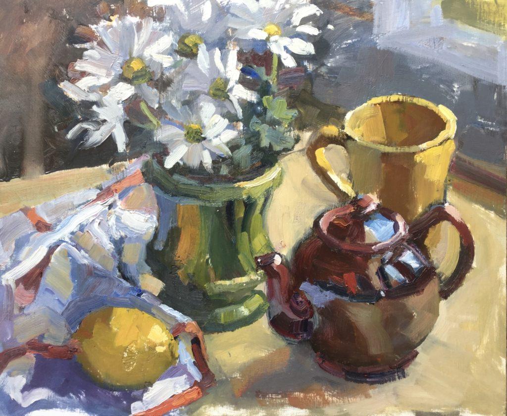 flowers, teapot, lemon, still life, spring, floral,