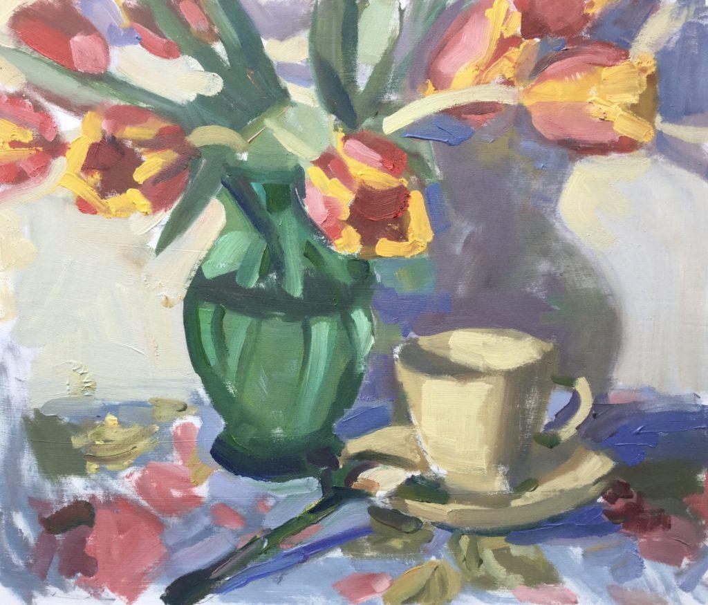 tulips, tea, still life, shadow,